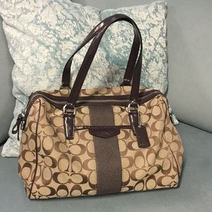 "CLASSIC DOUBLE ""C"" COACH BROWN & TAN BARREL BAG"